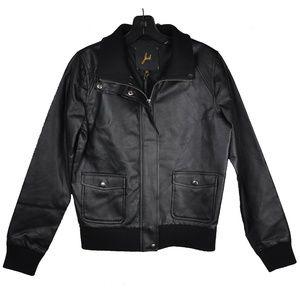 Black Motorcycle Bomber Faux Leather Jacket
